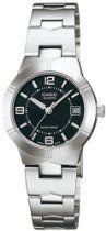 Casio Women's Silver Stainless-Steel Quartz Watch with Black Dial Casio Classic, Cheap Watches, Cool Watches, Stainless Steel Bracelet, Stainless Steel Case, Casio Vintage, Metal Fashion, Watch Sale, Casio Watch