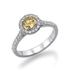 Diamond Engagement Ring, Art Deco 14K White Gold, Vintage Ring, Fancy Yellow Diamond