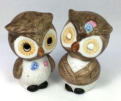 VTG ANTIQUE ❤︎ OWL SALT & PEPPER SHAKERS ❤︎ SHABBY CHIC LOVE BIRDS KAWAII 1970s #Animals #Unknown