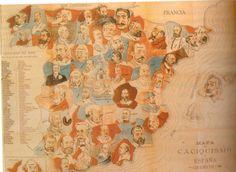 Se trata de una caricatura que muestra el mapa del caciquismo en España durante la Restauración. Caciquismo: para crear mayorías parlamentarias y garantizar  su victoria electoral, cada grupo político procedía a la manipulación de las elecciones. El fraude electoral permitía que la decisión adoptada por el rey de relevar el Gobierno tuviera siempre el apoyo popular necesario