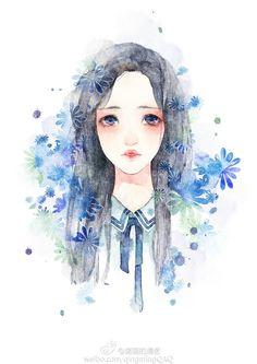 给自己画的一个小头像-清茗__涂鸦王国插画