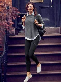 Headlands Shirt (striped blue) + Kennewick Crew Sweater (grey) + High Rise Metro Drifter Tight (black) + slip on sneakers Casual Work Outfits, Sporty Outfits, Mode Outfits, Trendy Outfits, Fashion Outfits, Gym Outfits, Fashion Ideas, Fashion Trends, Modelos Fashion