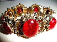 vtg Victorian Revival Bracelet Dk Cherry Red Stones Seed Pearls GRADUATION GIFT! #Unsignedbeauty #CuffStatementRetroBohoVictorianRevival
