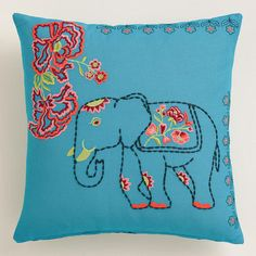 One of my favorite discoveries at WorldMarket.com: Elephant and Flowers Throw Pillow