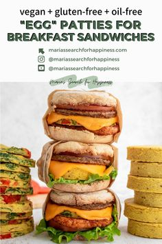 """These vegan and oil-free """"egg"""" patties are easy to make and great for meal prepping freezer breakfast sandwiches! #veganbreakfast #veganbrunch #veganbreakfastrecipes #veganbrunchrecipes #breakfastsandwich #dairyfreerecipes #plantbasedrecipes #plantbasedbreakfast #oilfreerecipes #oilfree #dairyfree #vegetarianrecipes #vegetarianbreakfast #vegetarianbreakfastrecipes #vegetarianbrunch #vegetarianbrunchrecipes #plantbased #veganfallrecipes #freezerrecipes #fallrecipes #cozyfallrecipes #oilfreevegan Vegetarian Brunch Recipes, Healthy Vegan Breakfast, Vegan Recipes, Free Recipes, Vegetarian Sandwiches, Vegan Ideas, Sandwich Recipes, Vegetarian Food, Whole Food Recipes"""