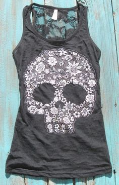 d3b4816d853 I like bones and skulls on clothing. Sugar Skull Tank Top with rhinestones  burn out with flower skull tattoo print and lace back