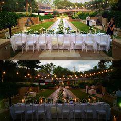 Formal Gardens festoon lighting afternoon vs. evening