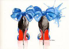 Louboutin high heels  Original Watercolor illustration by MilkFoam, $35.00