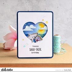 It's Galina and I'm ready to share with you one more card with amazing Jawsome stamp set. This time I decided to make a night scene inside of heart shaped window. Ocean Scenes, White Gel Pen, Scrapbook Cards, Scrapbooking, Distress Ink, Gel Pens, Cool Cards, I Card, Cardmaking