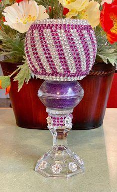 Rhinestone decor / sparkling bling vase/ Vintage | Etsy Candle Holder Decor, Candle Holders Wedding, Votive Candle Holders, Votive Candles, Candle Wedding Centerpieces, Elegant Centerpieces, Vintage Theme, Etsy Vintage, Wedding Table