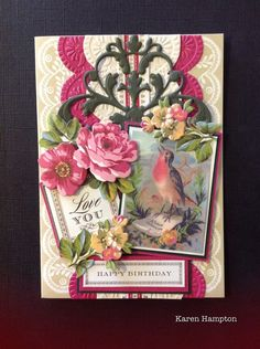 Anna Griffin all about kindness card kit with vintage robin postcard added