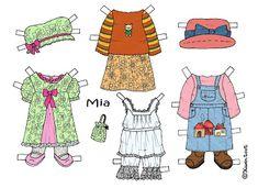 Karen`s Paper Dolls: Mia 1-3 Paper Doll in Colours. Mia 1-3 påklædningsdukke i farver.
