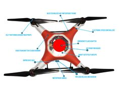 Splash Drone Waterproof AUTO ORANGE quadcopter is fully loaded with great features and ships free in the U.S. from Urban Drones. Full Warranty and Service in The U.S.
