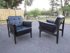 A Pair of Mid-Century Leather Lounge Chairs, Brazilian Style