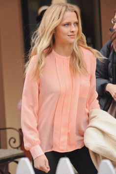 Teresa Palmer...love this hue and flowy blouse