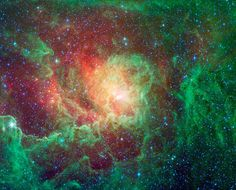 Swirling dust clouds and bright newborn stars dominate the view in this image of the Lagoon nebula from NASAs Spitzer Space Telescope. Also known as Messier 8 and NGC 6523, astronomers estimate it to be between 4000 and 6000 light years away, lying in the general direction of the center of our galaxy in the constellation Sagittarius.