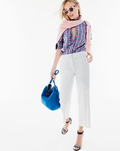 AUG '15 Style Guide: J.Crew women's Collection cashmere V-neck sweater, boy shirt in pink and blue plaid, patio pant, Illesteva™ for J.Crew Leonard sunglasses in pink tortoise, Peyton hobo bag in brocade blue and Collection jeweled strappy heels.