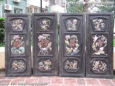 Chinese Folk Archaic Old rosewood inlay cloisonne Lucky Fu Lu Shou Xi Screen Set