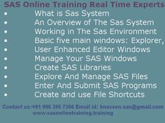 sasonlinetraining offers best SAS Online Training by the certified professionals at trainee's convenient time.http://www.sasonlinetraining.training