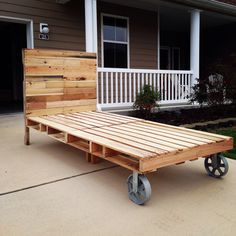 Twin size pallet bed from recycled pallets