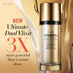 Anew Ultimate Supreme Dual Elixir Two innovative formulas—a unique serum and a luxurious blend of precious oils—combine for one supreme elixir that's more powerful than a serum alone. Anew Ultimate, Supreme, Camellia Oil, Tahitian Black Pearls, Avon Online, Good Skin, Medium, Whitening, Moisturizer
