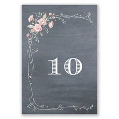 A sweet bouquet of coral colored roses creates a graceful border on this rustic chalkboard reception table number card. Customize this table number card with table numbers uploaded from your list to be printed on each table card.    Product Details:    Table Number Size: 5' x 7 1/4'  Card Type:  Top Fold   Prints In: Flat, Digital Ink  Choice of fonts  Price Includes: Table Number Card, Table Number Printing