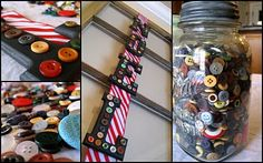 Christmas Button Project Christmas Buttons, Diy Buttons, Button Crafts, Candy Cane, Voss Bottle, Frugal, Mason Jars, Santa, Craft Ideas