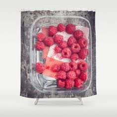 Raspberries in plastic container on old metal baking tray Shower Curtain by Elisabeth Coelfen - $68.00