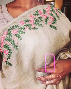 Floral worked Tussar Saree #drapetales #elsaabraham #fashion #style #bespoke #boutique #9746594988