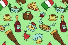 Italy doodle set pattern by Netkoff on @creativemarket