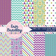 Purple Gold and Blue Digital Scrapbook Paper Set Personal & Commercial Use Graphics