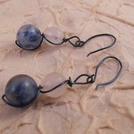 Bolivian Sodalite and White Quartzite Blue Wire Wrapped Earrings