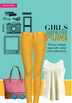 #trending #colouredpants #whitetops #fun #chic #cool #simple #college #styles #collegewear