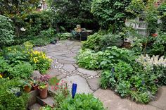 beautiful backyard with flagstone patio and perennial beds