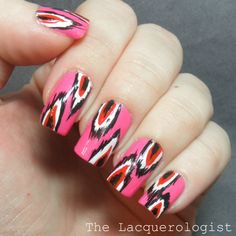 The Lacquerologist: Valentine's Day Ikat Nail Art!