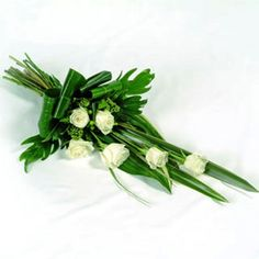 Sympathy Flowers White Rose Sheaf