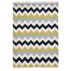 Muster vom Feinsten und Top Aktuell: Aus reiner und feiner Wolle, mit tollem Zickzackmuster in Blau und Neongrün.