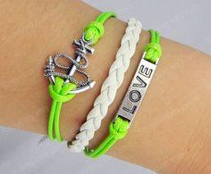 Silver  Retro anchor Bracelet Infinity Bracelet  Love by Colorbody, $3.99