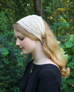 Evintage Veils~ So Soft Headwrap Embroidered Black, Blush Beige, or White Stretch Lace Headband Kerchief Tie-style Head Covering Church Veil Beautiful Muslim Women, Beautiful Hijab, Beautiful Girl Image, Lace Headbands, Wide Headband, Catholic Veil, Chapel Veil, Muslim Beauty, Tie Styles