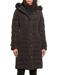 Lauren Ralph Lauren Faux Fur-Trim Quilted Coat Women's Black Small