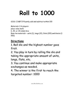 2.NBT.5 Roll to 1000 Math Station / Center GameCCSS: 2.NBT.5 Fluently add and subtract within 100A fun way for the students to practice adding ...