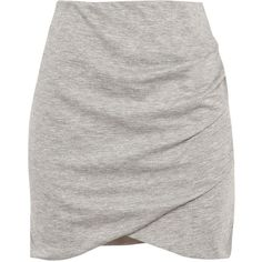 Pull & Bear Side-Draped Skirt (265 PHP) ❤ liked on Polyvore featuring skirts, faldas, bottoms, saia, grey marl, promotions, grey skirt, draped skirt and gray skirt