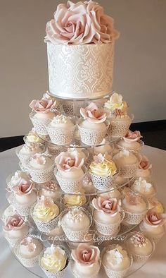 Cupcake Elegance – Wedding Cakes With Cupcakes Gold Cupcakes, Wedding Cakes With Cupcakes, Elegant Cupcakes, Floral Wedding Cakes, Wedding Cake Designs, Wedding Ideas, Rose Cupcake, Cupcake Cakes, Cupcake Tower Wedding