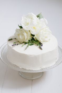 White cake with fresh flowers