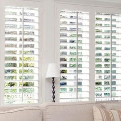 Dress up your living room with long-lasting plantation shutters.