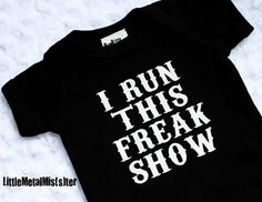 Carnival Circus Freak Show baby black onesie. Heavy Metal Alternative Punk Rocker baby infant clothes size 6 months on Etsy, $15.00