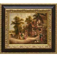 Framed print featuring a rural country scene. Product: Framed printConstruction Material: WoodColor: Black and gold frameFeatures: Old World country inn scene themeDimensions: H x W Country Scenes, Framed Prints, Art Prints, All Wall, Countries Of The World, Canvas Frame, Old World, Wall Art, Wallpaper