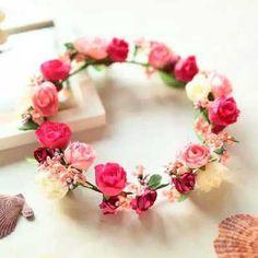red flower floral bridal hair crown wreath hairpiece boho cream wedding hair