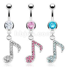 316L Surgical Steel Multi Gem Paved Music Note Navel Ring - Jeweled & Unique, Belly rings / Navel Rings, Body Jewelry | Hollywood Body Jewelry
