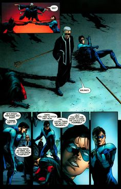 Nightwing (Dick Grayson)and Red Robin (Tim Drake). Love their friendship. Part of the brotherhood of bats.